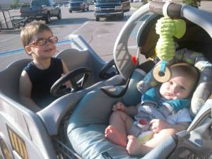 Happy cart rides with both boys these days.
